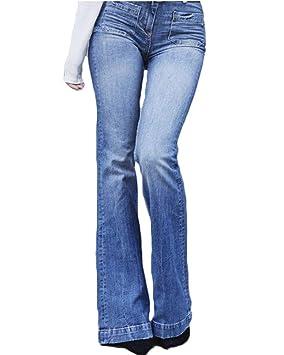 Mujeres De Cintura Alta Jeans Largos Denim Acampanados Pantalones De Campana