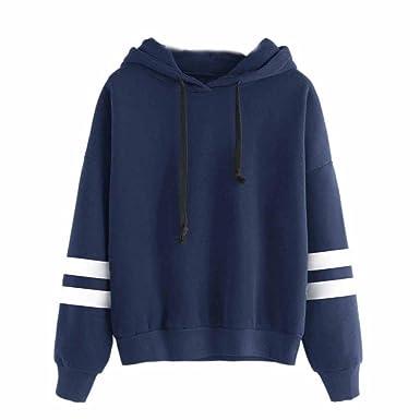 HUIHUI Frauen Langarm Kapuzenpullis, Damen Hoodies Langarm Kapuzenpulli  Bluse Kapuzen Sweatshirt (Blau, S bc1ef141c9
