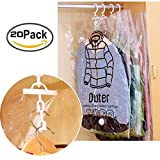 Yumian Small Large Clear Clothes Covers, 5/10/20 Pieces Foldable Hanging Compression Vacuum Bag Clothes Dust Cover Storage Sealed Pouch Protect Clothes from Dust, Dirt & Marking (20)