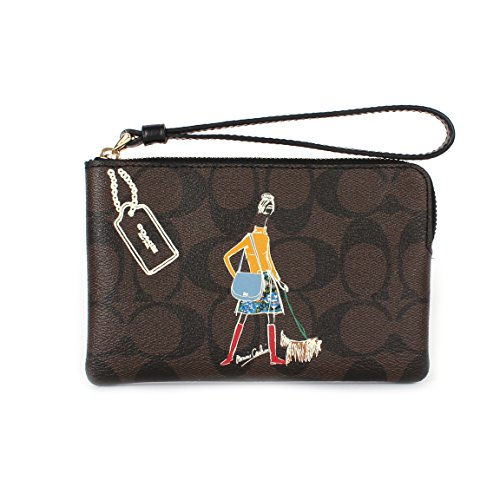 (Coach Signature PVC Bonnie Cashin Corner Zip Wristlet F57586 Brown/Black)