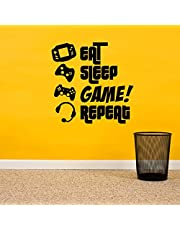 EAT SLEEP GAME REPEAT - Gamers Wall Art Vinyl Decal - Video Gamers Cool Wall Decor- Decoration Vinyl Sticker - Teen Boys Room Decor - Boys Bedroom Wall Decoration (24 x 23 Black)