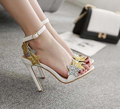 OL correa abierta Mujeres boda zapatos tamaño Ankel punta bomba Pentagram Eu de tacón Court Roma lentejuelas de vestir cm 11 Slingbacks 34 dulces sandalias zapatos D'orsay aguja Blanco de de zapatos zapatos zZHpzgq