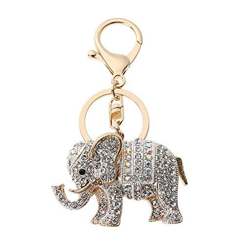Whitelotous Popular Inlaid Color Cast Elephant Key Ring - Rhinestone Purse Bag Buckle - Crystal Key Chain - Ladies Bag Pendant -
