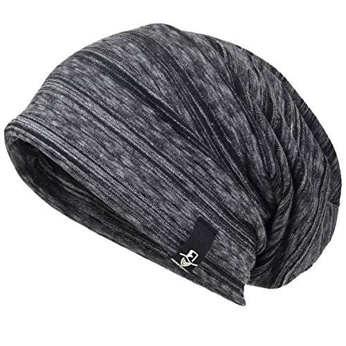 VECRY Mens Slouch Beanie Skull Cap Thin Summer Hat (Stripe Black)
