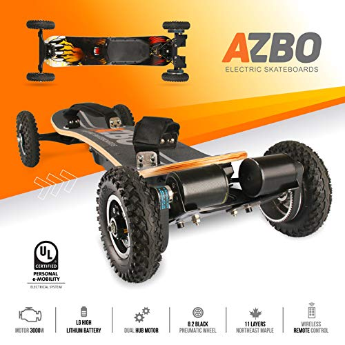 Off Road Electric Skateboard with Remote Control by AZBO | 3000W Dual Motor UL2272 Certified High Speed 25 MPH Motorized Mountain Y8 Longboard with Bindings for Cruising | LG Battery | 18 Miles Range