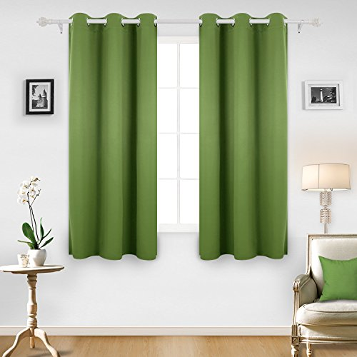 Deconovo Room Darkening Thermal Insulated Blackout Grommet Window Curtain Panel For Living Green42x63 Inch1