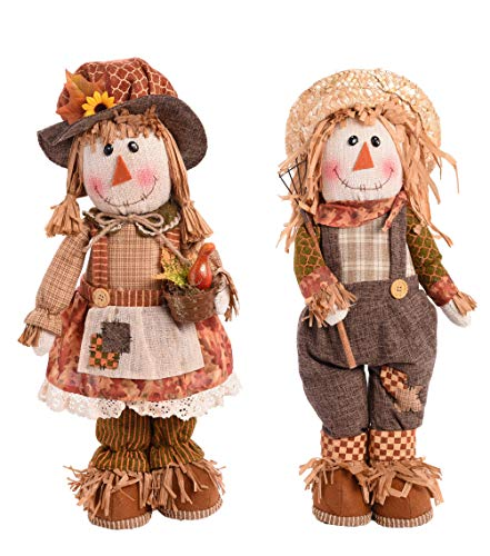 Transpac Imports, Inc. Standing Scarecrow Plush Brown 20 x 9 Polyester Harvest Figurines Set of 2