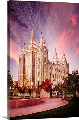 Scott Jarvie Premium Thick-Wrap Canvas Wall Art Print entitled Salt Lake Temple, Pink Sunrise, Salt Lake City, Utah (Salt Lake Temple)
