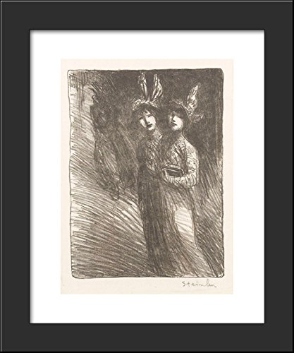 Woman Lithograph - Two women lithograph 20x24 Framed Art Print by Theophile Steinlen