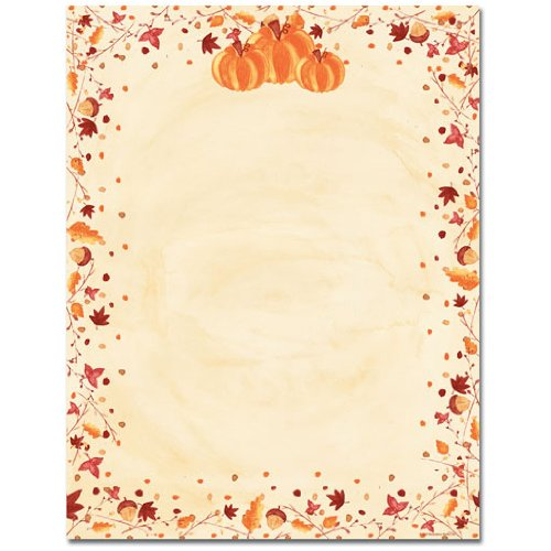 Orange Pumpkins & Fall Leaves Border Halloween Thanksgiving Computer Printer Paper (150 Sheets)