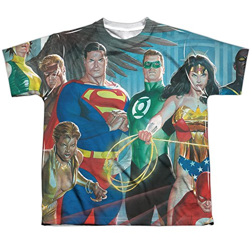 DC Comics Justice League Heroes Alex Ross Art Boys Youth Front Print T-Shirt Tee