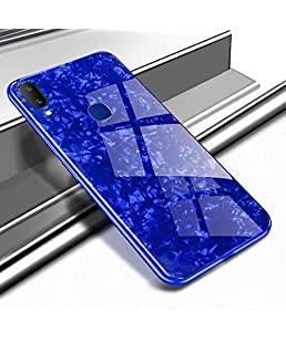 A rtistque Luxurious Marble Pattern Bling Shell Back Glass Case Cover with Soft TPU Bumper and Hybrid Technology for Redmi Mi Y3 || Redmi 7 - Blue