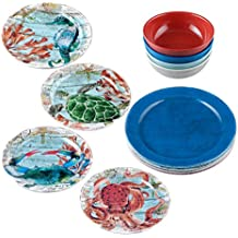 Gourmet Art 12-Piece Sealife Melamine Dinnerware Set