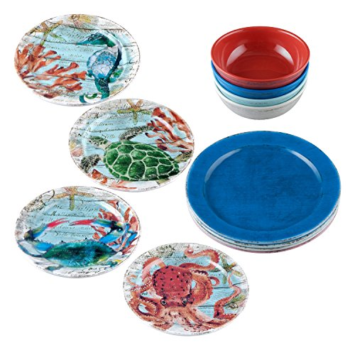 Gourmet Art 12-Piece Sealife Melamine Dinnerware Set  sc 1 st  Plate Dish. & Coastal Melamine Plates. Gourmet Art 12-Piece Sealife Melamine ...