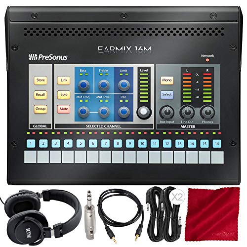 - PreSonus EarMix 16M 16x2 AVB-Networked Personal Monitor Mixer with Monitoring Headphones and Assorted Cables Deluxe Bundle