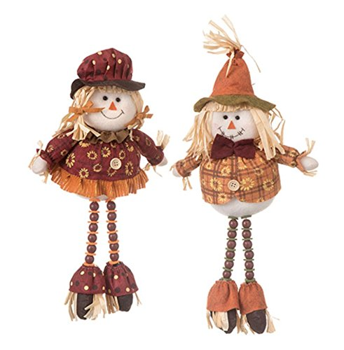 Set of 2 Sitting Scarecrows With Beaded Legs