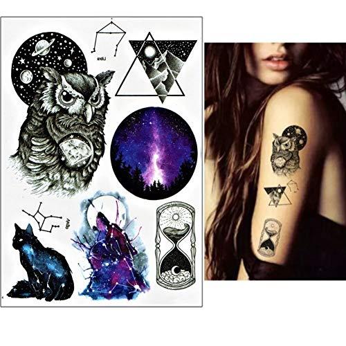 lecoolz - Tatuaje temporal, diseño de búho, gato, estrella: Amazon ...