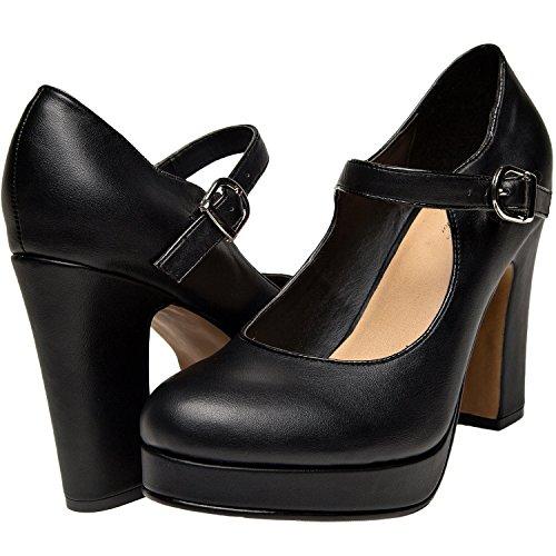 c198c46738e durable service Luoika Women Wide Width Heel Pump - Mary Jean Ankle ...