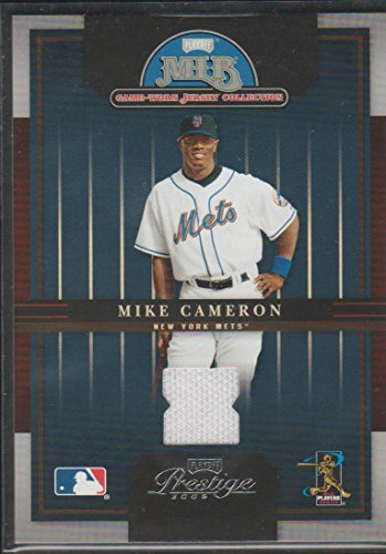 cd159dd9 2005 Playoff Prestige Mike Cameron Mets Game Used Jersey Baseball Card #17