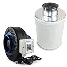 """VenTech VT IF4+CF4 IF4CF412 Inline Duct Fan with Virgin Charcoal Carbon Filter Combo, 190 CFM, 4"""""""