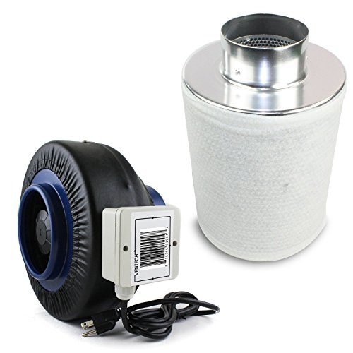51A6QYTWjeL VenTech VT IF4+CF4 IF4CF412 Inline Duct Fan with Virgin Charcoal Carbon Filter Combo, 190 CFM, 4