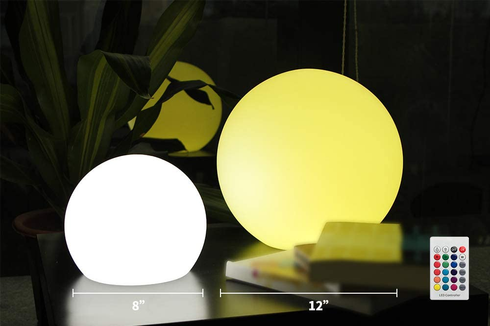 BLUEYE 12-Inch Cordless LED Ball Light,Easy Charging Design,IP67 Waterproof Pool Orb,304 Stainless Folded Hook,Magic Cleaning Kit,No Pock Bubbles,16 RGB Colors Sphere by Remote Control