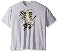 FREEZE Men's Halloween Skeleton Ripped T-Shirt, Sport Grey, Medium