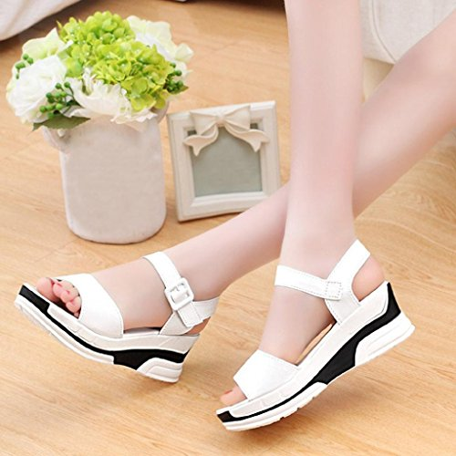 Hemlock Women's Summer Mid Heeled Sandals Shoes Ladies Sandals (US:8, White)