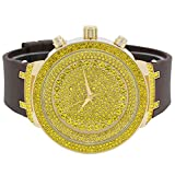 Mens Ice Master Fully Iced out Icy Canary Gold Stones Gold with Black Silicone Band