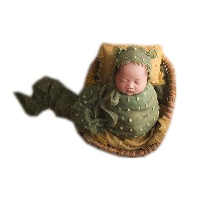 Fashion Cute Newborn Baby Boys Girls Retro Photography Props Hat with Wrap Blanket Cloth (Army Green): Clothing