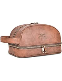 Leather Toiletry Bag For Men (Dopp Kit) with free Travel Bottles. The perfect gift and travel accessory.