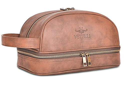 Vetelli Leather Toiletry Bag For...