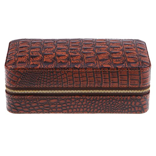 Baoblaze Cedar Wood Humidor Leather Cigar Box Travel Case for 6 Cigars Storage Friends Bussiness Gifts - Brown Alligator Pattern