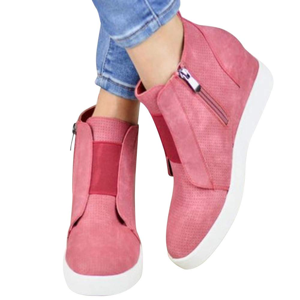 Gyoume Women High-top Boots Ankle Boots Zipper Flat Wedge Boots Shoes Candy Color Inside Increased Boots