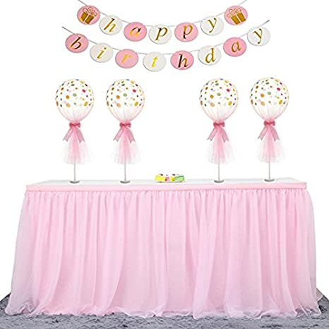 ft L 6 *H 30in, Pink HBBMagic High-end Gold Blrim 3 Layer Mesh Fluffy Tutu Talbe Skirt Tulle Tableware Tulle Table Cloth For Party,Wedding,Birthday Party/&Home Decoration