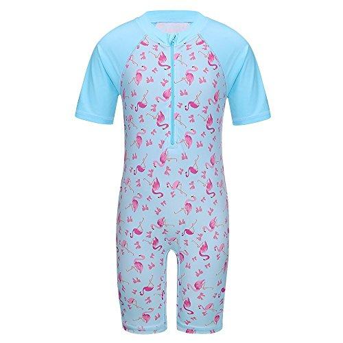 TFJH E Girls Swimsuit 4-5 Years UPF 50+ UV One Piece Sportwear Lovely Bow Swan Light Blue 4A 4 One Piece Swimsuits