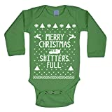 Merry Christmas Shitters Full Funny Ugly Christmas Sweater Contest Party Xmas Holiday Vacation Baby Long Sleeve One Piece 6 Months Green