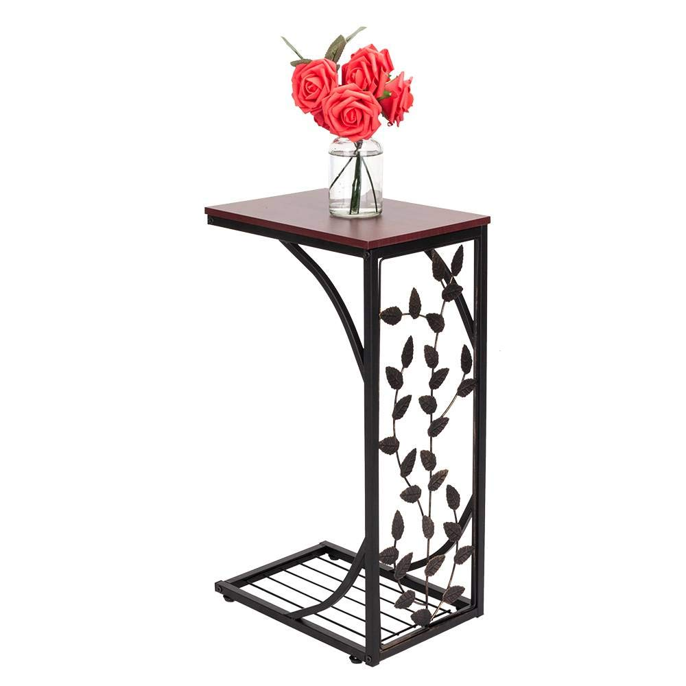 Binlin Sofa Side and End Table, Small - Metal, Dark Brown Wood Top with Leaf Design - Perfect for Your Living Room Sofa/Chair/Recliner