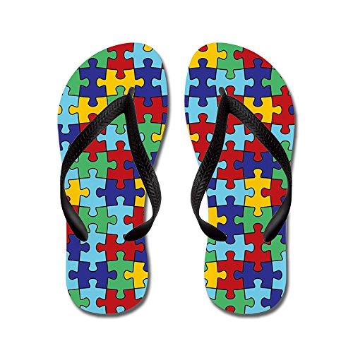 Patrón De Piezas De Puzzle Cafepress Autism Awareness: Chanclas, Sandalias De Tanga Divertidas, Sandalias De Playa Negras