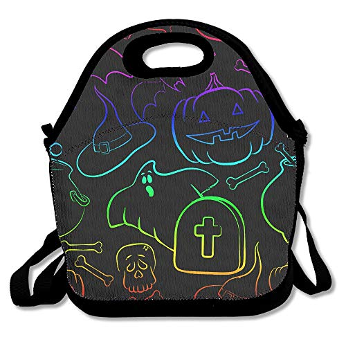 Neon Funny Halloween Part Lunch Bag Tote Handbag CANCAKA For School Work -