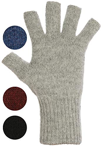 DARN WARM Alpaca FINGERLESS Gloves - BEST NATURAL SOLUTION for COLD HANDS - (Ash Light Grey - 90% Alpaca, Medium)
