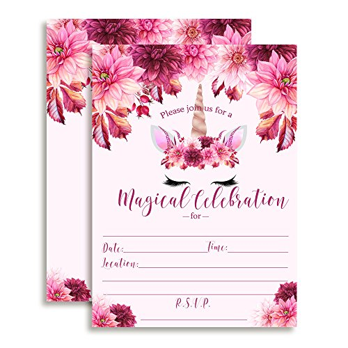 Watercolor Floral Unicorn Face with Pink and Burgundy Dahlias and Greenery Birthday Party Invitations, 20 5
