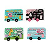 Zhi Jin Cute Animal Bus Credit Card Sleeve Protectors Holder Case Car ID Subway Card Sleeves Organizer Set Travel School Gift Pack of 4 Mixed Color