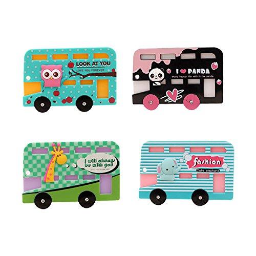 Zhi Jin Cute Animal Bus Credit Card Sleeve Protectors Holder Case Car ID Subway Card Sleeves Organizer Set Travel School Gift Pack of 4 ()