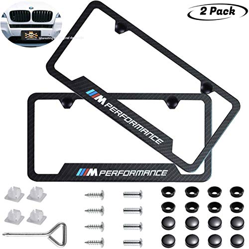 - 2pcs M Performance Logo License Plate Stainless Steel Frame,with Carbon Fiber Textured Glossy Finish Logo for BMW,Applicable to US Standard car License Frame