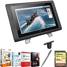 "Wacom Cintiq 22HD 22"" HD, Wide-Format Interactive Pen Display w/Grip Pen DTK2200 + Elite Suite 18 Standard Editing Software Bundle + Bamboo Solo Stylus F/Tablets, Smartphones + 64GB Memory Card"
