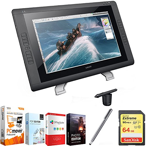 "Wacom Cintiq 22HD 22"" HD, Wide-Format Interactive Pen Display w/Grip Pen DTK2200 + Elite Suite 18 Standard Editing Software Bundle + Bamboo Solo Stylus F/Tablets, Smartphones + 64GB Memory Card"
