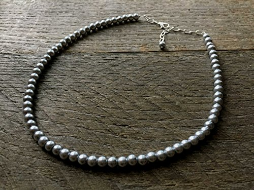 (One Strand Pewter Childrens Flower Girl Pearl Necklace)