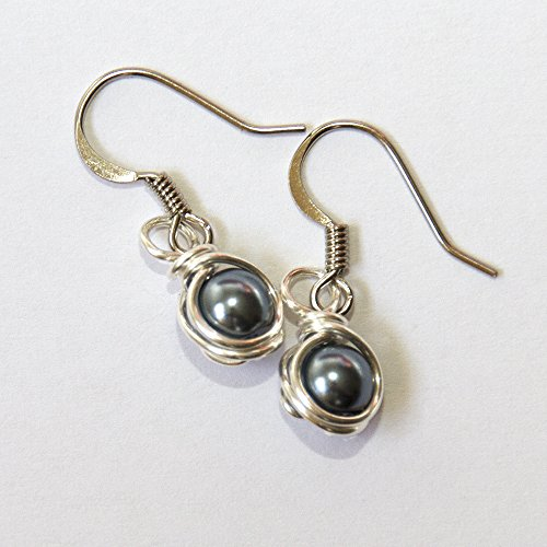 (Small Dark Gray Simulated Pearl Wire Wrapped Dangle Earrings - Handmade Jewelry)