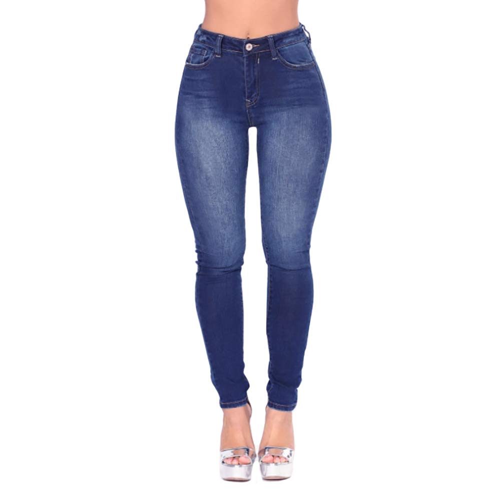 Dark bluee VICVIK Womens Hight Waiste Knee Skinny Jeans Leggings Stretch Denim Butt Pants Pencil Jeggings